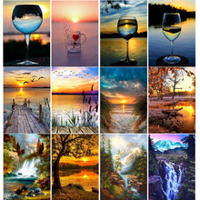 Diamond embroidered lakeside scenery 5D DIY full round diamond painting rhinestone cross stitch decorative landscape
