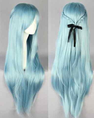 Suyusun344828 + + nueva espada en línea GrilLong recta azul claro Asuna Yuuki violeta Cosplay peluca