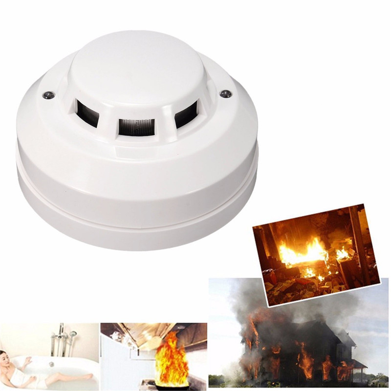 New White 12V DC Home Safety System Ceiling Wireless Smoke Fire Alarm For Fire Prevention Tester Smoke Detector Sensor