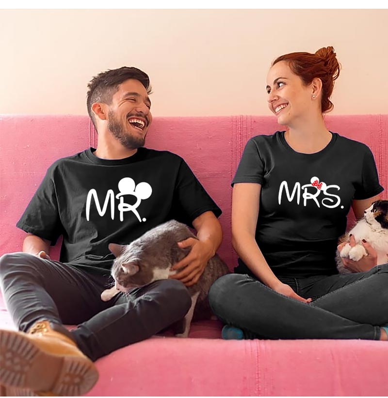Mr mrs couple t shirt for lovers husband wife matching clothes