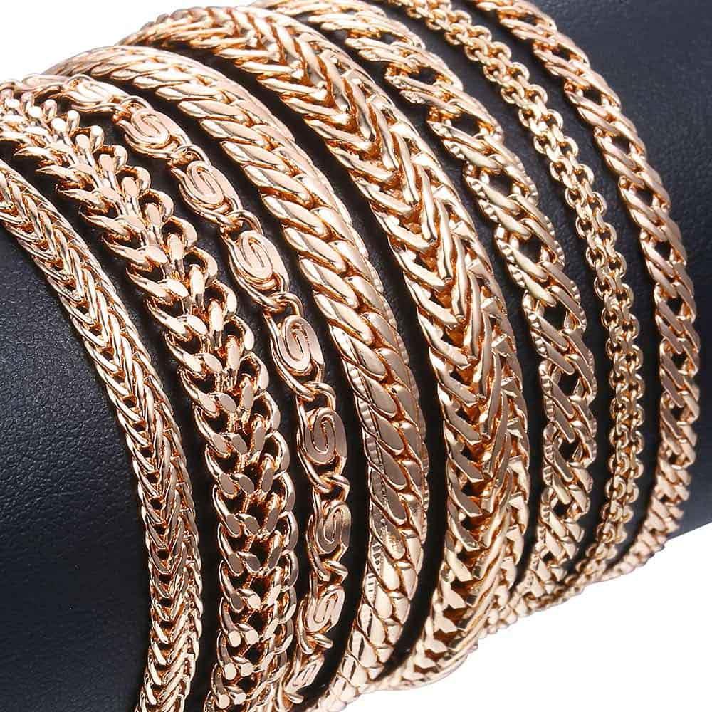 20cm Bracelets For Women Men 585 Rose Gold Curb Snail Foxtail Venitian Link Chains Men s