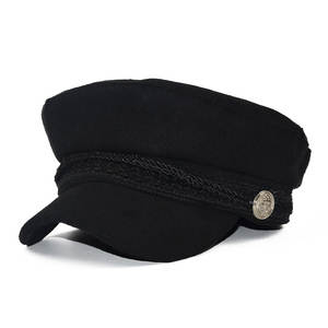 Hat Cap Visor-Hat Baseball-Hats Wool French-Style Black Womens Winter Baker's Boy