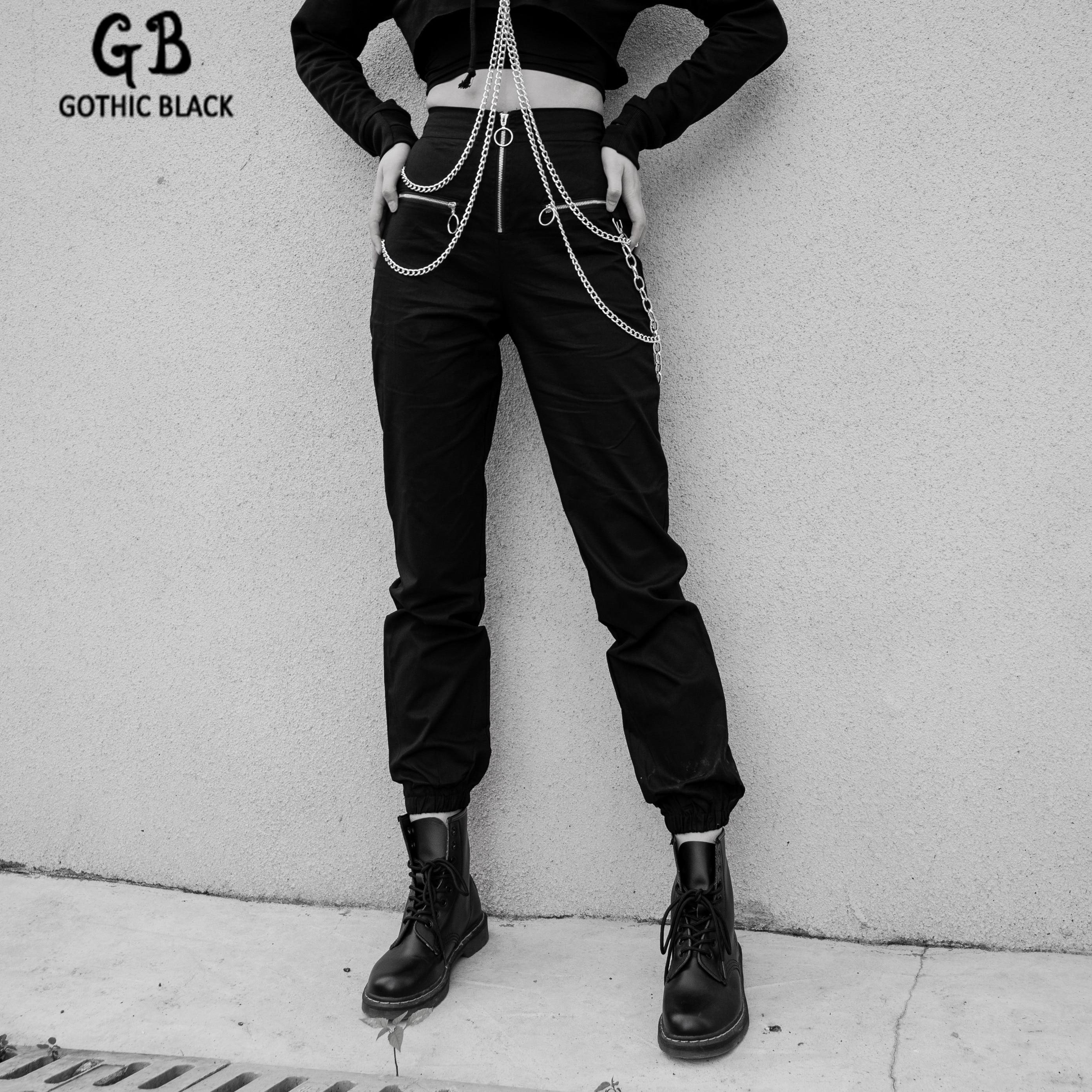 Gothic Black Women Slim Pocket Chain Zipper Harem Pants 2019 Winter Goth Punk Streetwear Female Solid Color Loose Harem Pants