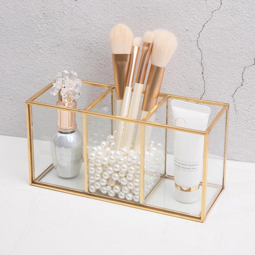 Прозрачный стеклянный откидной контейнер в скандинавском стиле с рисунком и сеткой, роскошный современный контейнер для хранения косметик...