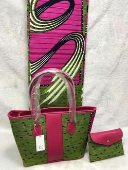 Fashion African Cotton Wax Fabric(6Y) Matching Big Wax Handbag And Purse Set  DBWB1