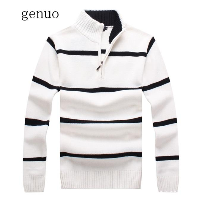 Thick Sweater Men Brand Clothing Casual Pullover Hight Quality Striped Patchwork Knitted Male Turtlneck Jumper 6 Colour
