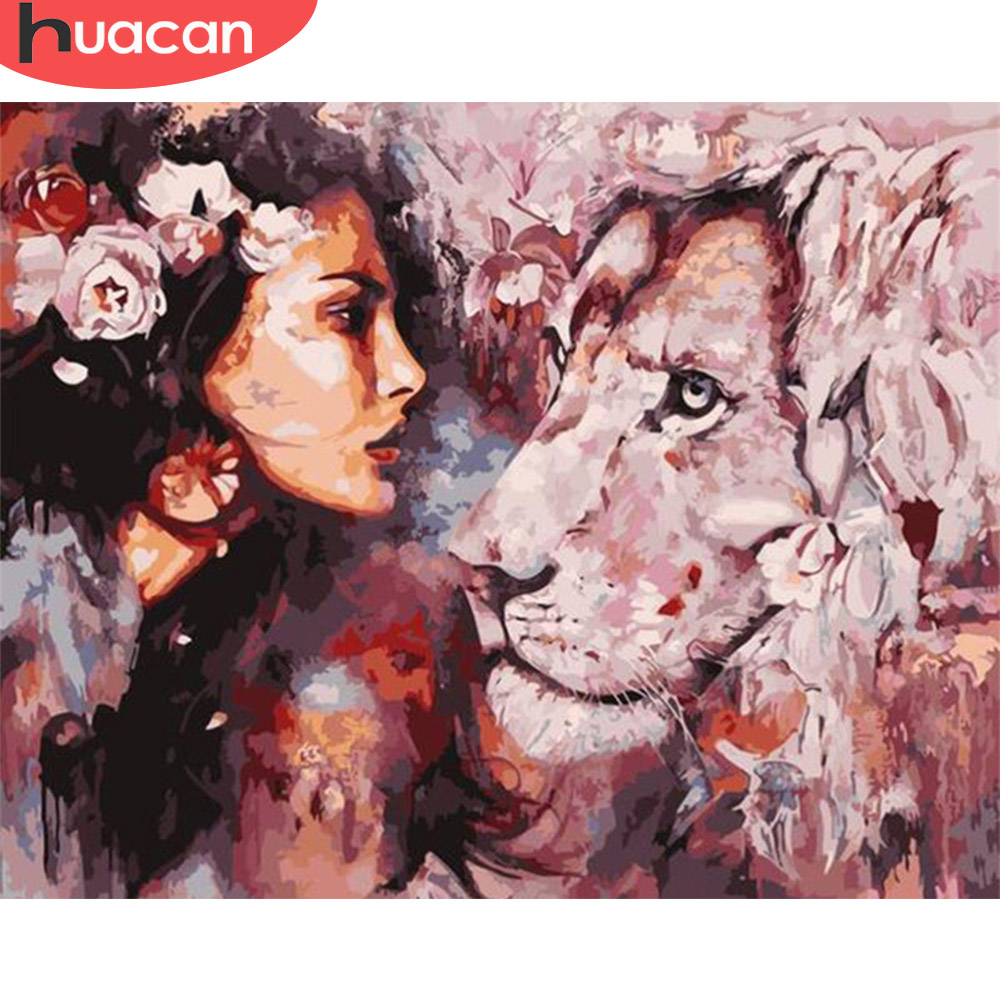HUACAN Oil Painting Animal Drawing On Canvas HandPainted Art Gift DIY Picture Paint By Number Lion And Girl Kits Home Decoration