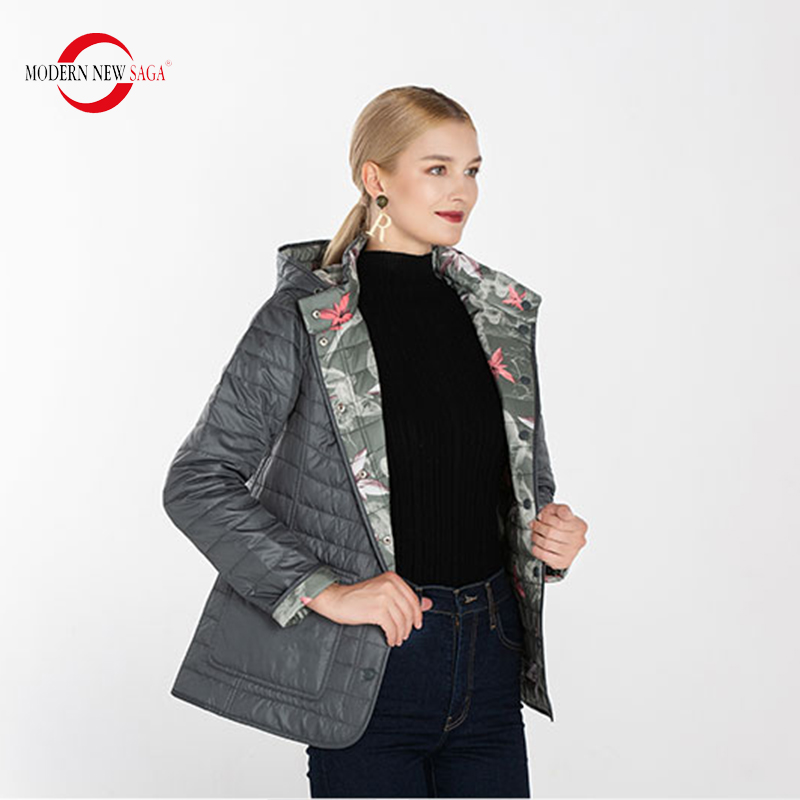MODERN NEW SAGA 2020 Autumn Women Jacket Cotton Padded Jacket Hooded Reversible Jacket Women Coat Warm Jacket Woman Russian Size