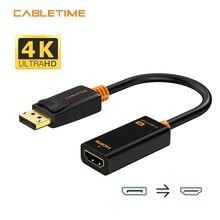 Cabletime dp para hdmi-conversor compatível m/f 4k/2k porta de exibição para hdmi-adaptador compatível displayport hdmi 4kfor macbook n007