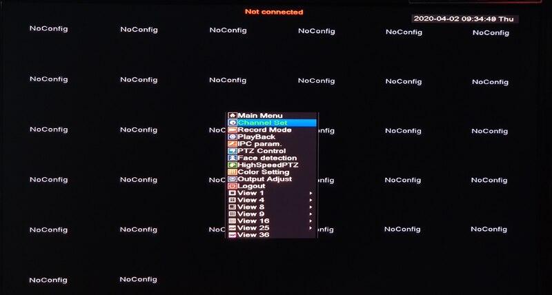 12V 5A Hi3536C XMeye 32CH8MP Surveillance Video Recorder Face Detection H.265+ 8MP 4K 32CH 32 Channel one Sata Onvif CCTV NVR main menu picture