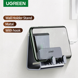 Ugreen Matel Wall Mount Phone Holder Stand for iPhone 12 11 Pro Max X 8 Adhesive Stand with Hook for Tablet Samsung Huawei Bag
