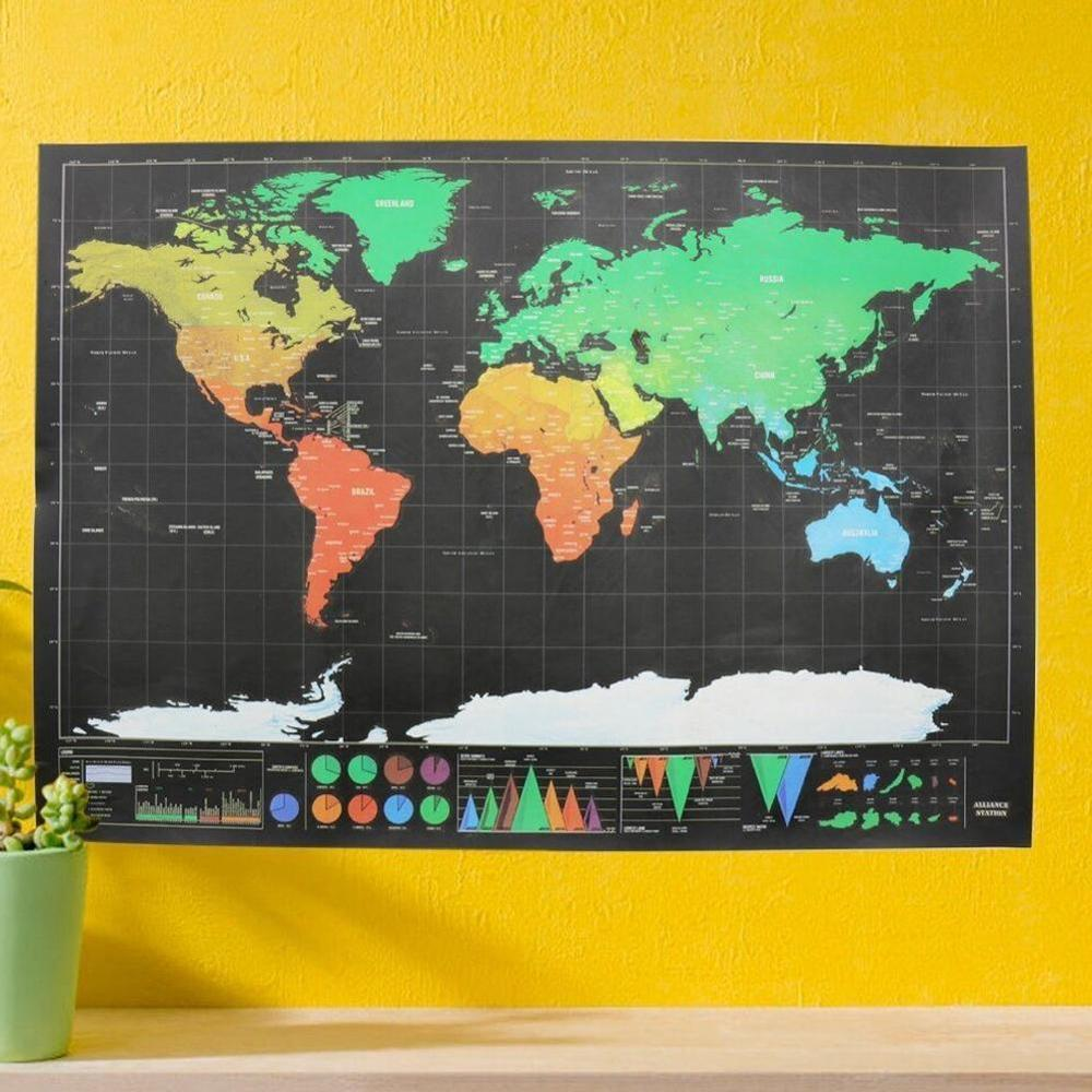 Free Shipping Deluxe Black Scratch Off Map World Map Scratch Map Best Decor School Office Stationery Supplies