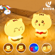 Novelty Cute Cartoon Cat Night Light Kids Silicone Bedside Table Lamp With Record For Children Kids Pat LED Light Night Toys novelty lamp usb charging night light touch sensor silicone pat lamp cartoon led bedside atmosphere nightlight for christmas