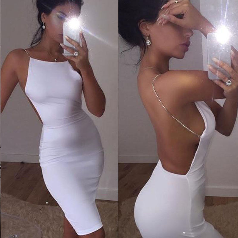 Women Ladies Summer Sexy Evening Party Dress Sleeveless Solid White Backless Hollow Out Skinny High Waist Knee-Length Dress