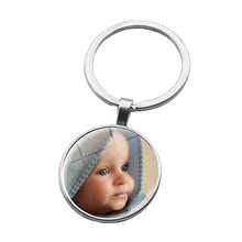 Handmade Personality Photo Family Keychain Photo Baby Child Brother Sister Grandparents Portrait key ring pendant jewelry(China)