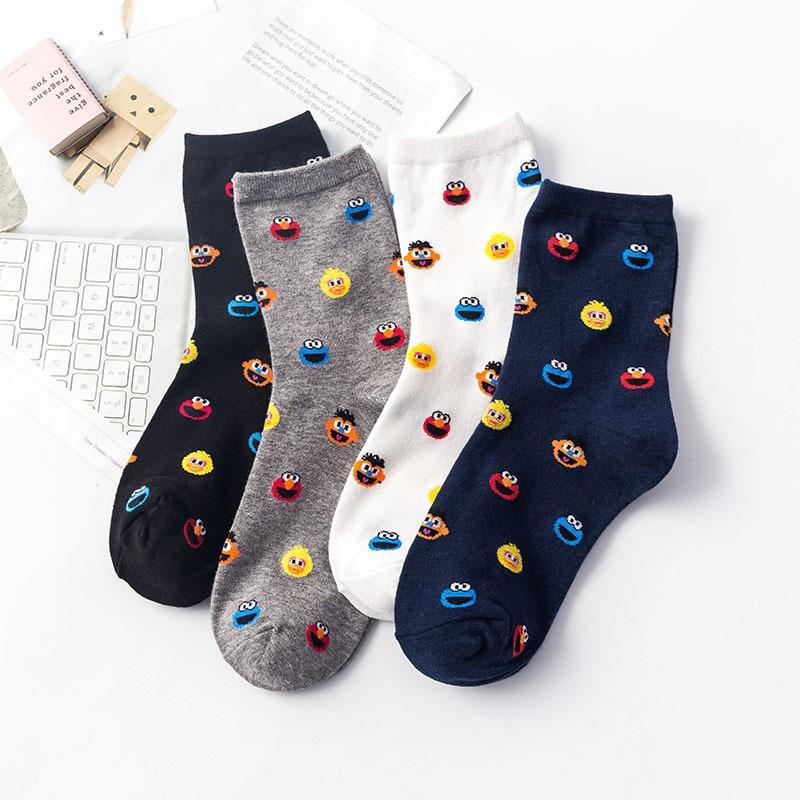 Cartoon Sesame Street Socks Women Cookie Monster Fashion Funny Cute Tube Sock Comfortable Ladies White Cotton Socks For Girls
