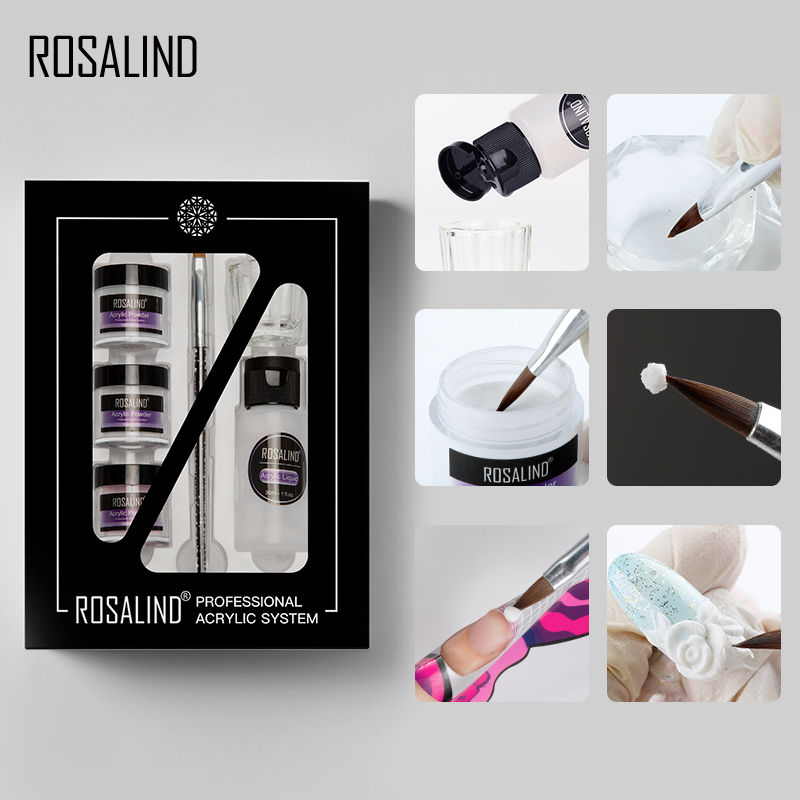 ROSALIND Acrylic Nail Kit For Nail Art Design Extension Carved For Manicure Nails Kit Boxed Powder Set Top And Base No Need Lamp