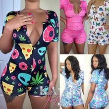 New Pattern Sexy Women Bodysuit Short Sleeve V Neck Bodycon