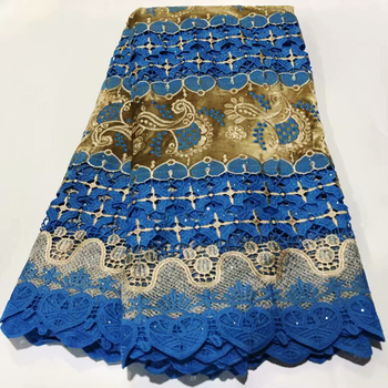 Colorful lace fabric 2020 heavy beaded embroidery African lace fabrics 100% cotton Swiss voile lace in Switzerland With stones