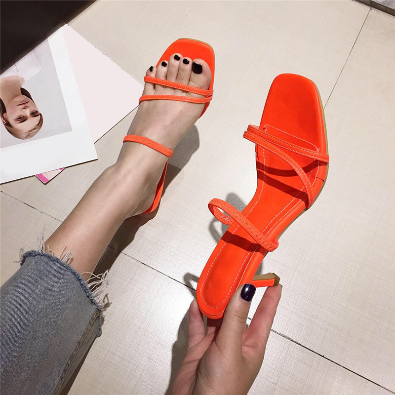 2020 New Women's Slides Women Squeal Toe Sweety Candy Color Sandals Woman Mid Thin Heels Female Open Toe Fashion Beach Shoes