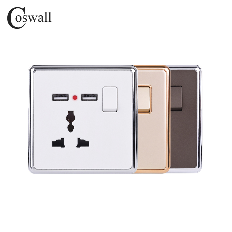 Coswall 13A Universal 3 Pin Wall Socket Switched + 2.1A Dual USB Charging Port LED Indicator White Gold Brown Silver/Gold Hemmed