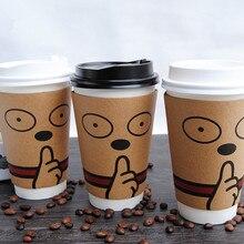 50 шт высокое качество одноразовые кофейные бумажные стаканчики креативные Мультяшные белые молочные чайные соевые стаканчики для горячих напитков вечерние стаканчики с крышкой