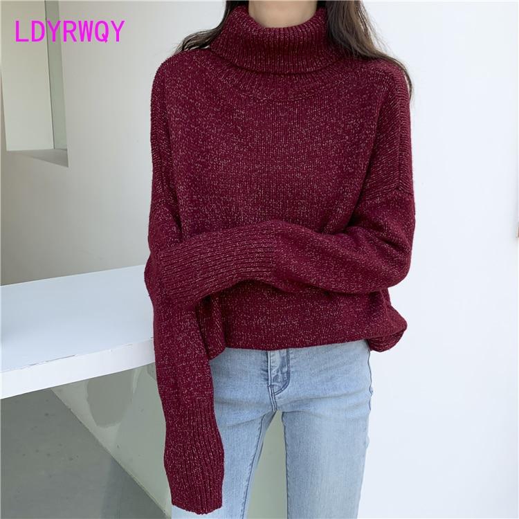 2019 Korean High Collar Thick Sweater Turtleneck  Casual  Full  Pullovers  Regular  Solid  Standard  Regular