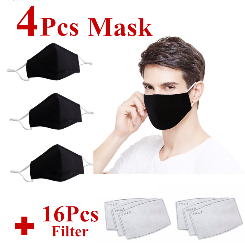 4pcs Black Cotton Mask Mouth Face Mask Anti PM2.5 Dust Mouth Mask 16 Activated Carbon  Filter Mask Fabric Face Mask Washable