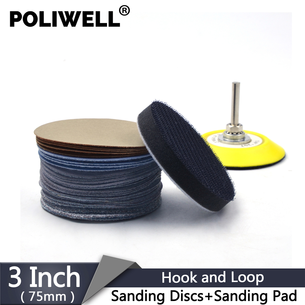 POLIWELL 30 Pcs 3'' 75mm Mixed Grit Sanding Discs Round Abrasive Dry Sandpaper + 6mm Shank Back-up Pad For Metal Wood Polishing