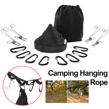 4.3M Camping Lanyard Outdoor Tent Accessories Hanging Rope 19 Rings