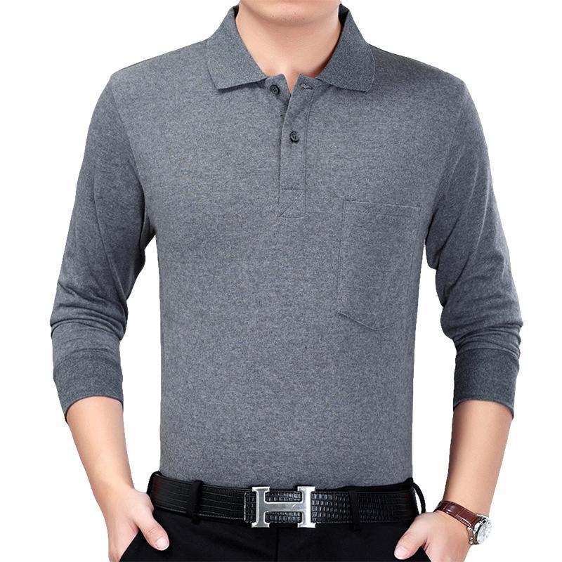 Plain Color Polo Shirt Men Plus Size 3XL Autumn Winter Brand Men's Polo Shirt Long Sleeve Casual Male Shirt Mens Polo Shirts