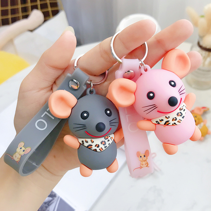 Creative cute cartoon Epoxy mouse keychain Korean version ins personality trend couple key chain bag pendant