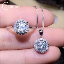 Colife moissanite anel e pingente conjunto para casamento moissanite prata conjunto de jóias de casamento sólido 925 prata conjunto de jóias de moissanite