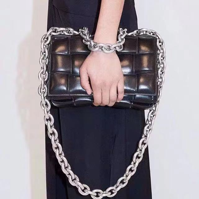 2020 Cowhide Leather Women Crossbody Bag Weave Real Leather Chain Messenger Bags Purses And Handbags Ladies Clutches Evening Bag