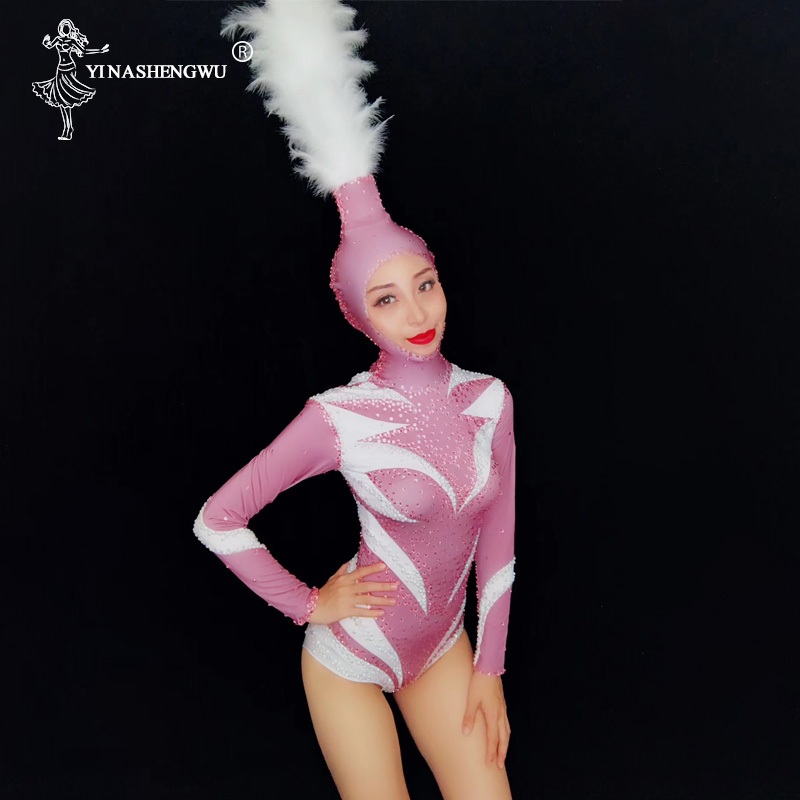 Pink Crystals Sexy Leotard Bodysuit With White Feathers Headdress Costumes Female Jazz Costume Long Sleeve Nightclub Bodysuit
