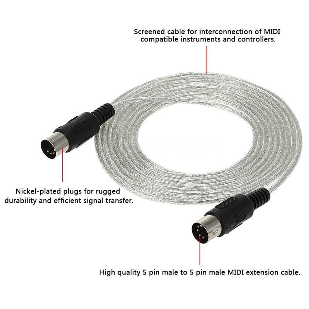 3M/10ft MIDI Extension Cable Male To Male 5 Pin Plug Connector Synthesizer