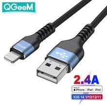 Câble USB certifié QGeeM MFi pour iPhone 12 Mini Pro Max XS X XR 11 8 7 Plus 2.4A Câble Lightning de charge rapide Câble de données USB pour iPhone Cordon de chargeur Apple Fil d'éclairage Puce d'origine iPhone