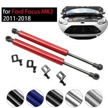 For Ford Focus MK3 2011-2018 amortyzator przedniej pokrywy maski 2x zmodyfikuj rozpórki gazowe z włókna węglowego podnieś wsparcie amortyzator akcesoria Absorber tanie tanio CN (pochodzenie) FRONT HOOD Modify Front Hood Bonnet Gas Struts Lift Support Shock Rod Arm metal+plastic 1 23kg 18MM