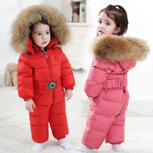 2020 Winter Down Baby Rompers Fur Hooded Boy Jumpsuits Warm Toddler Girls Onesie Unisex Kids Clothes Costume Newborn Snowsuit