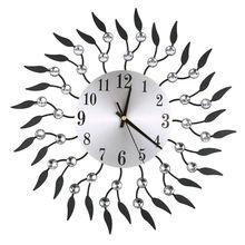 15 Inch 3D Large Wall Clock Shiny Diamond Rhinestone Leaf Modern Silent Living Room Home Decoration