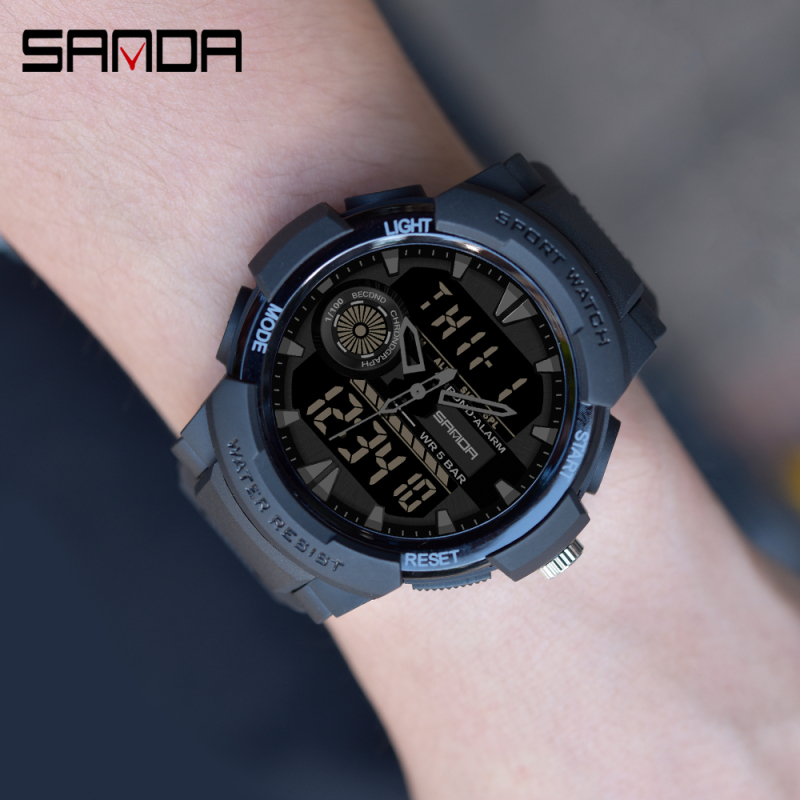 SANDA Watch Men's Sport Watches Multifunctional Chronograph Waterproof Wristwatch Relogio Digital Military LED Quartz Clock