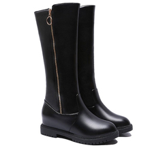 Knee High Winter Autumn Boots Over The Women Soft Leather Zipper Thigh ladies Shoes zapatos de mujer