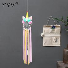 Nordic Room Decoration Unicorn Dream Catcher Led Light Dreamcatcher Scandinavian Car Hoops Hanging Pendant Feather Crafts