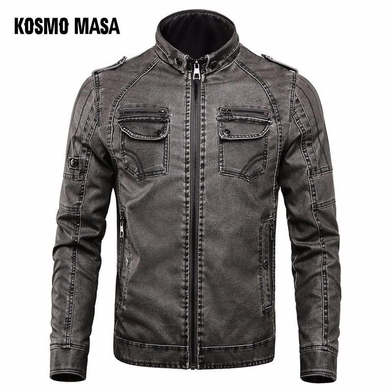 KOSMO ماسا الأسود دراجة نارية معاطف سترة جلدية رجل الشتاء الذكور الفراء ضئيلة فو بو زائد حجم الأزرق سترات من الجلد للرجال MF023-في معاطف من الجلد الصناعي من ملابس الرجال على  مجموعة 1