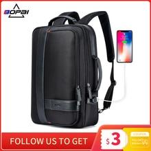 حقيبة ظهر لرجال الأعمال من BOPAI حقيبة ظهر سوداء مزودة بمنفذ USB مضادة للسرقة حقيبة كمبيوتر محمول بشاشة 15.6 بوصة حقائب مدرسية للكلية ذات سعة كبيرة للرجال