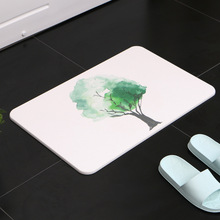 Quick-drying Ins style plant scenery diatom mud mat durable quick-drying absorbent bathroom carpet non-slip diatom carpet