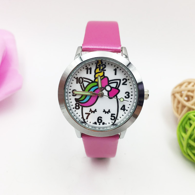 Beautiful Unicorn Children Watches Kids Girls Quartz Watch Boys Girl Luminous Wristwatch Student Leather Clock Reloj Free Ship