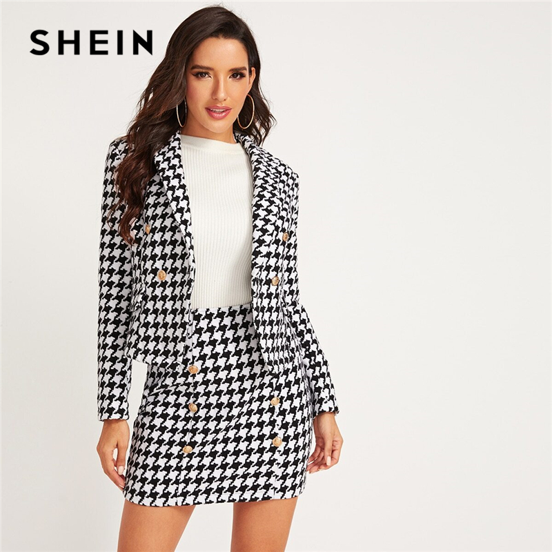 SHEIN Black And White Shawl Collar Houndstooth Print Blazer And Bodycon Skirt Elegant Set 2019 Autumn Ladies Buttoned Suit Sets