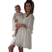 Family Matching Clothes Fitted Lace Dress Female Women'S Trumpet Sleeves Party Dress Mother And Daughter Clothes Family Look недорого