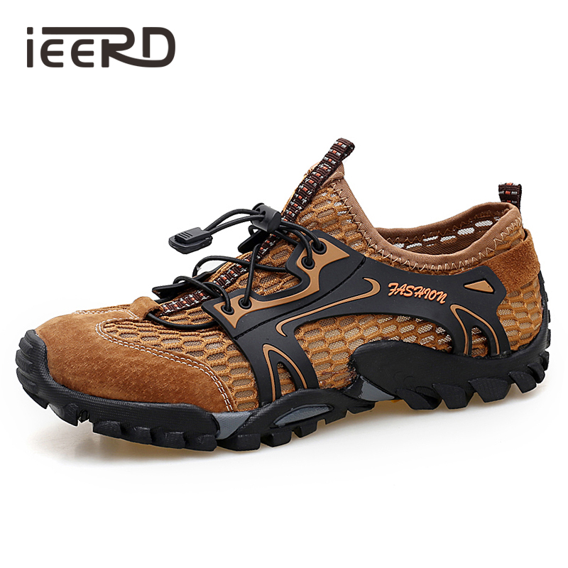 Summer Breathable Casual Men Shoes Suede + Mesh Outdoor Men Sneakers Mesh Shoes Men Sport Shoes Quick-dry Water Shoes